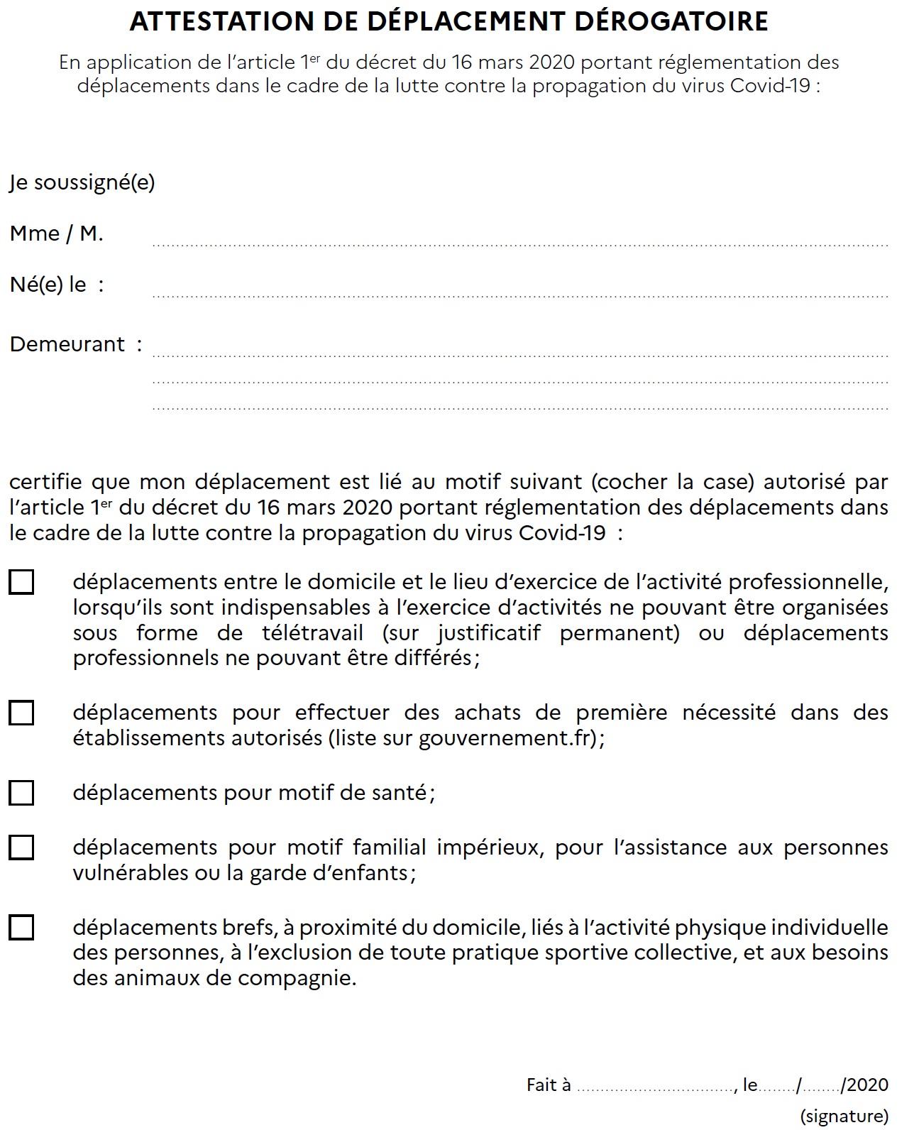 ATTESTATION SORTIE CORONA VIRUS - Truffi-conseils-covid-19-1 / Attestation dérogatoire de sortie